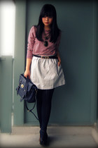 red American Apparel shirt - sky blue Urban Outfitters skirt - navy Forever 21 b