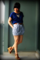 blue Uniqlo blouse - blue Silence & Noise skirt - brown belt - brown Aldo shoes