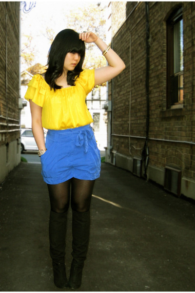 yellow winners top - blue H&M shorts - black Nine West boots