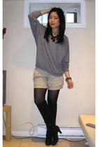 gray American Apparel sweater - beige River Island shorts - black American Eagle