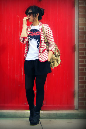 red Urban Outfitters blazer - white Forever 21 t-shirt - black Costa Blanca shor