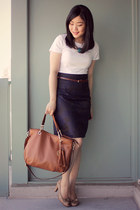 white Old Navy t-shirt - brown Michael Kors bag - navy H&M skirt