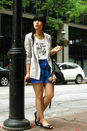 blue H&M shorts - black Blowfish shoes - gray Silence & Noise blazer