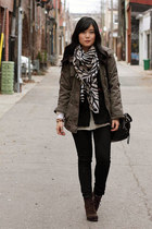 gray zebra print H&M scarf - dark brown suede Luxury Rebel boots