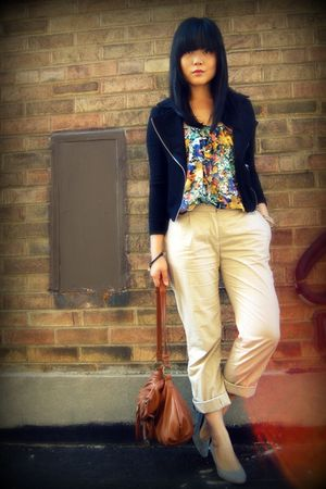 black Forever 21 jacket - H&M blouse - beige H&M pants - brown the sak purse - g