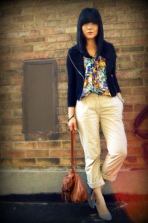 black Forever 21 jacket - H&M blouse - beige H&M pants - brown the sak purse - g
