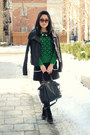 black Old Navy boots - black Mackage jacket - green Joe Fresh sweater