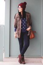 navy Old Navy jeans - dark brown Luxury Rebel boots - maroon H&M hat