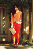 carrot orange H&M jeans - beige vintage clutch etienne aigner bag - dark brown A