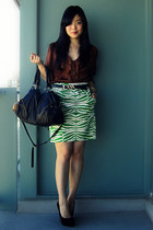 Urban Outfitters bag - Costa Blanca belt - joe fresh style skirt - H&M blouse -