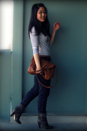 white H&M dress - blue Zara pants - gray Dolce Vita boots - brown the sak bag -