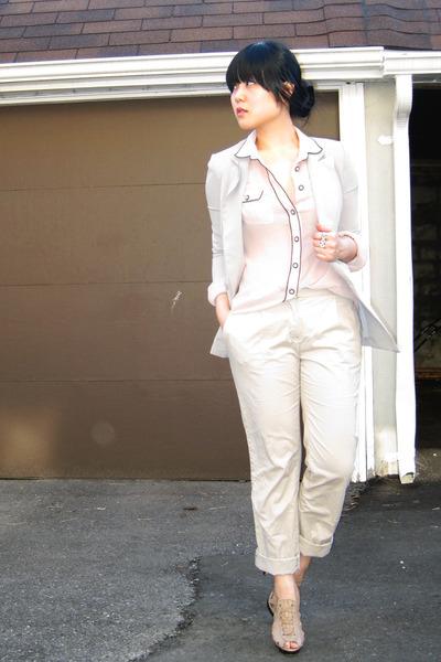 gray Silence & Noise blazer - pink Zara blouse - beige H&M pants - beige Aldo sh