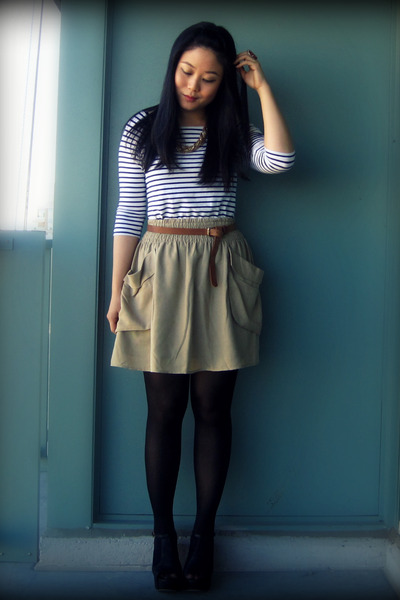 white H&M dress - beige H&M skirt - brown H&M belt - black H&M tights - black Je