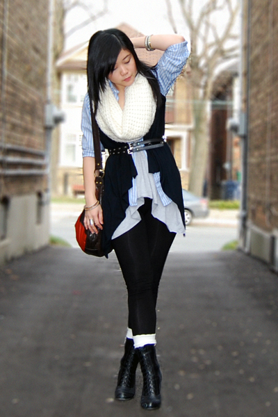 black vest - blue Gap shirt - gray Bluenotes top - white H&M scarf - black Aldo