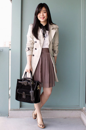 light brown pleated skirt H&M skirt - beige trench coat Zara coat