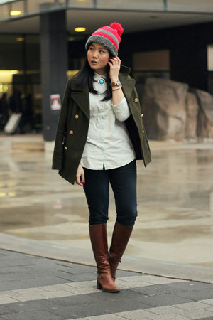 army green Old Navy coat - dark brown Aldo boots - navy Seven7 jeans