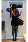 Blue-h-m-jacket-orange-h-m-scarf-black-american-apparel-dress-black-h-m-st