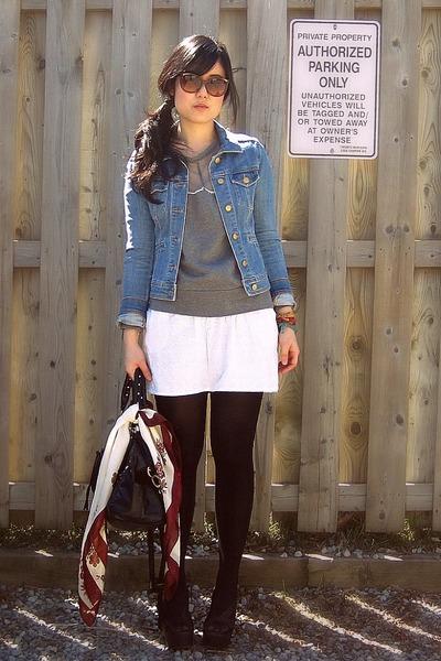white Urban Outfitters skirt - light blue denim H&M jacket
