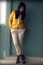 mustard Zara cardigan - cream H&M blouse - beige H&M pants - crimson aa socks -