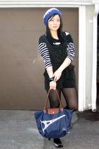 black Forever 21 dress - black Zara top - blue longchamp purse - silver shoes -
