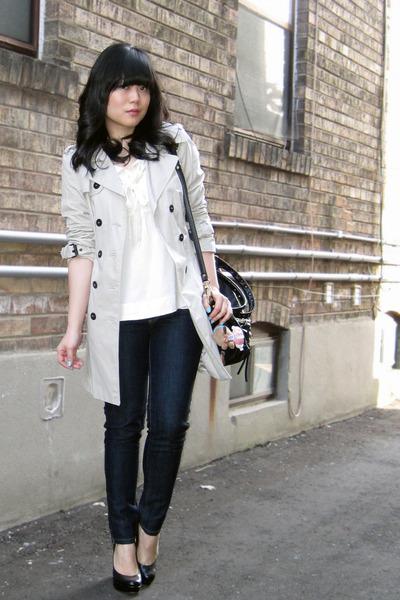 black platform Aldo shoes - beige trench Zara coat - blue Forever 21 jeans