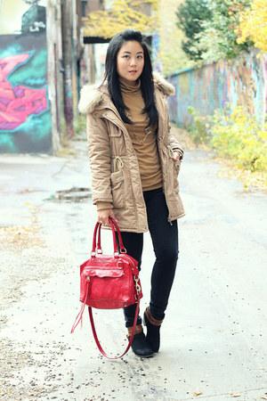 black Mossimo boots - black Uniqlo jeans - camel Oasapcom jacket