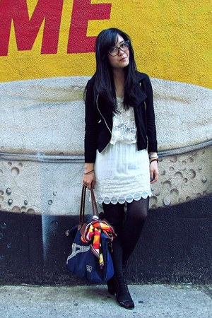 black Aldo shoes - ivory La Quaintrelle dress - black Forever 21 jacket