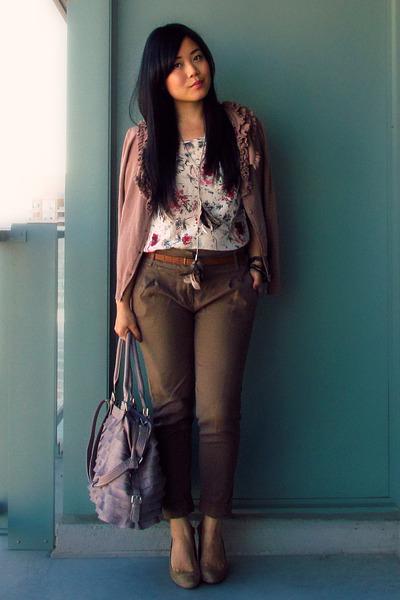peach H&M cardigan - light purple from mom bag - ivory joe fresh style blouse