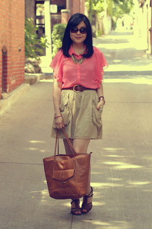 salmon Forever 21 blouse - brown H&amp;M bag - camel H&amp;M skirt