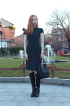 black Geox boots - narciso rodriguez dress - black Marni bag