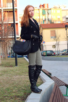 black Bruno Magli boots - black vintage gianni versace coat - black Marni bag