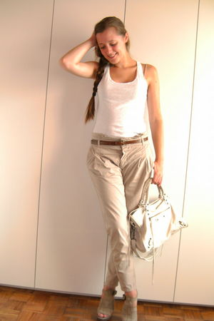 beige Zara pants - beige Zara shoes - white H&amp;M top - white balenciaga bag