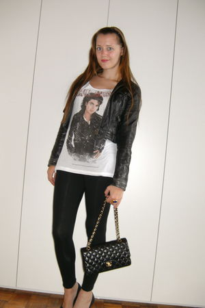 black Bershka jacket - white Zara shirt - black H&M leggings - black Chanel bag