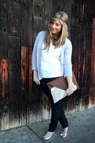 navy H&M jeans - dark brown Krust bag - heather gray TJ Maxx cardigan - gold Urb