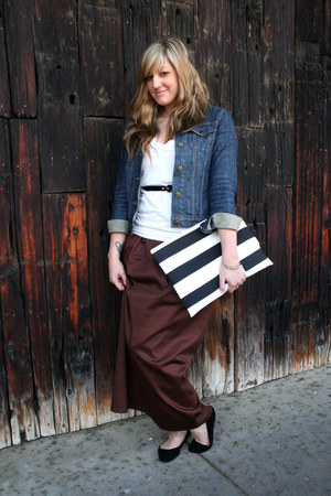 navy denim jacket Gap jacket - black striped clutch Krust purse - dark brown max