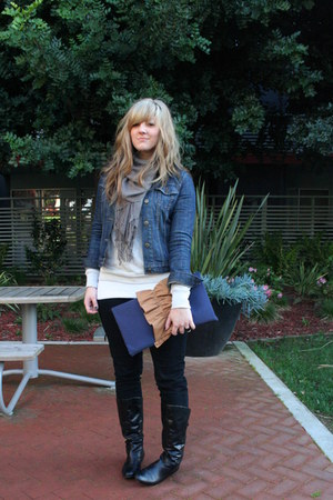 navy flat boot Mossimo boots - black Old Navy jeans - navy denim jacket Gap jack