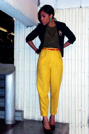black Forever 21 blazer - yellow thrifted pants - black thrifted blouse - black