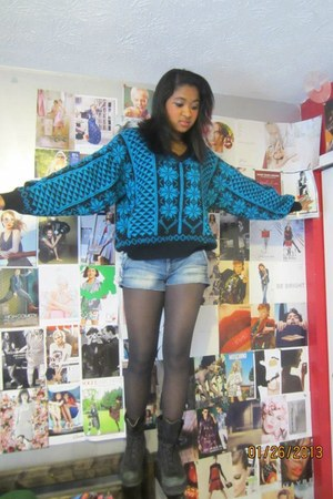 unknown boots - unknown sweater - unknown tights - unknown shorts