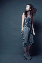 heather gray f21 pants - heather gray laureen uy vest - heather gray Wholesale D