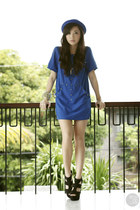 blue WAGW dress - blue WAGW hat - black Call it Spring heels
