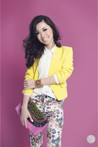 light yellow WAGW blazer - white WAGW top - charcoal gray WAGW pants