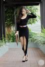 Black-storets-dress-crimson-stylista-bag-black-sugarfree-heels