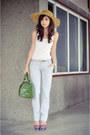Yellow-marikina-hat-factory-hat-green-fino-bag-deep-purple-schutz-heels-go