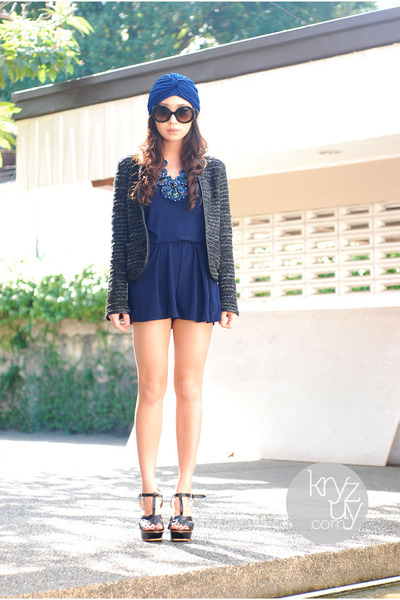 navy meme dakay necklace - blue Love eye candy hat - black Zara blazer