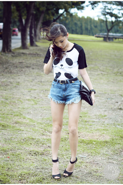 black natural color top - blue romwe shorts