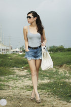 white Souve bag - blue romwe shorts - charcoal gray Jimmy Choo sunglasses