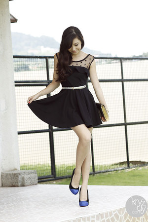 black Korean Rose dress - blue Sheinside heels - silver WAGW belt
