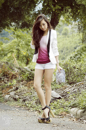 white clothes for the goddess blazer - white f&x shorts - salmon romwe top