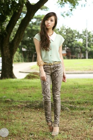 heather gray SM GTW pants - aquamarine lemon online top