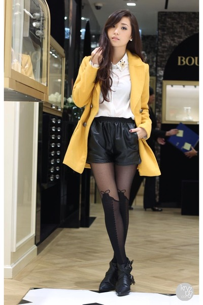 mustard indressme coat - black Choies boots - black romwe leggings